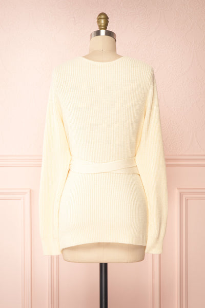 Polkan White Knit Wrap Cardigan | Boutique 1861 back view