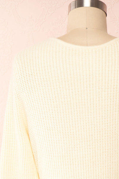 Polkan White Knit Wrap Cardigan | Boutique 1861 back close-up