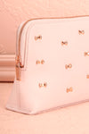 Polska - Light pink wash bag with bows side close-up