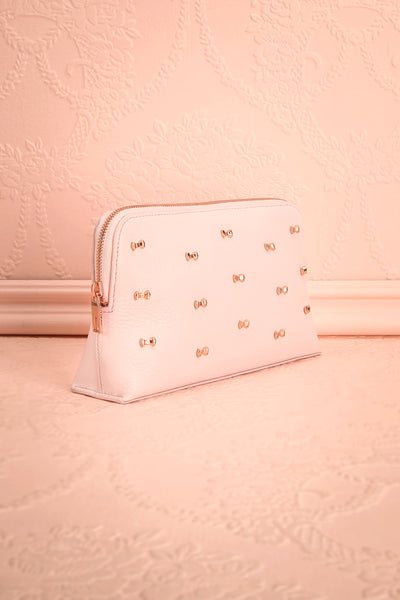 Polska - Light pink wash bag with bows side view