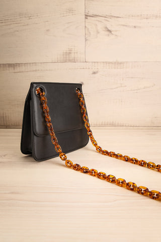 Poole Black Rectangular Crossbody Bag side view | Boutique 1861