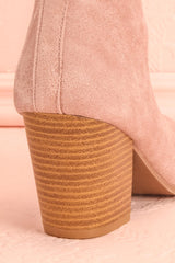 Poquelin Rose Pink Scalloped Block Heel Ankle Boots | Boutique 1861