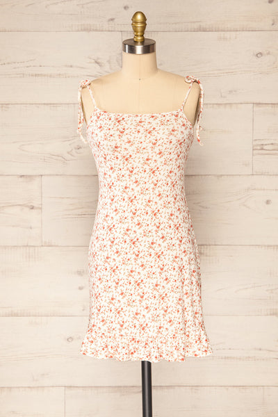 Portree Pink Floral Tied Straps Short Dress | La petite garçonne front view