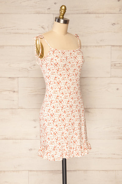 Portree Pink Floral Tied Straps Short Dress | La petite garçonne side view