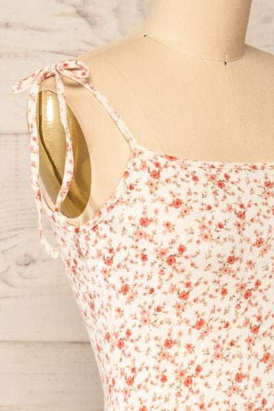 Portree Pink Floral Tied Straps Short Dress | La petite garçonne side close-up