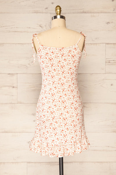 Portree Pink Floral Tied Straps Short Dress | La petite garçonne back view