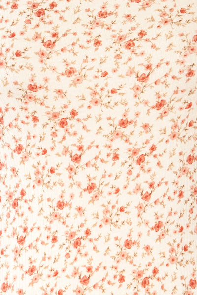 Portree Pink Floral Tied Straps Short Dress | La petite garçonne fabric