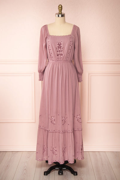Priscan Mauve Floral Embroidered Maxi Dress | La petite garçonne front view