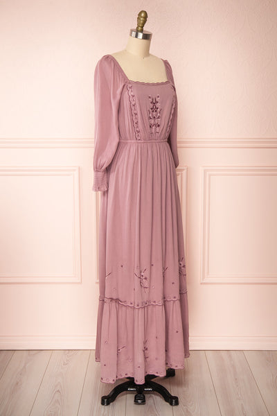 Priscan Mauve Floral Embroidered Maxi Dress | La petite garçonne side view