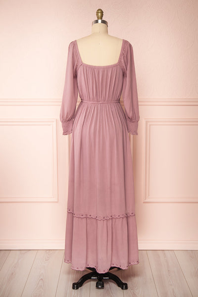 Priscan Mauve Floral Embroidered Maxi Dress | La petite garçonne back view