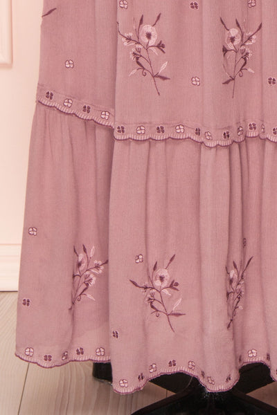 Priscan Mauve Floral Embroidered Maxi Dress | La petite garçonne bottom