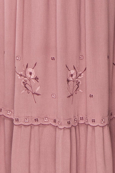 Priscan Mauve Floral Embroidered Maxi Dress | La petite garçonne fabric