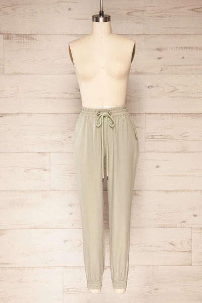 Puck Green High-Waisted Drawstring Pants | La petite garçonne  front view