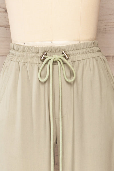 Puck Green High-Waisted Drawstring Pants | La petite garçonne  front close up