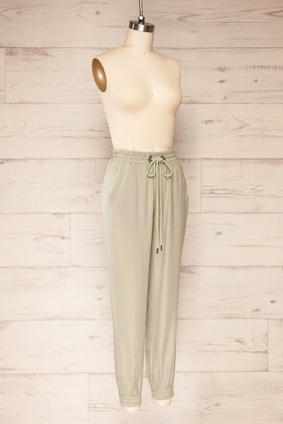 Puck Green High-Waisted Drawstring Pants | La petite garçonne  side view