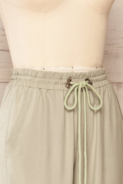 Puck Green High-Waisted Drawstring Pants | La petite garçonne  side close up