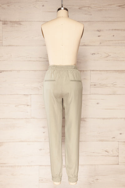 Puck Green High-Waisted Drawstring Pants | La petite garçonne  back view