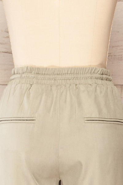 Puck Green High-Waisted Drawstring Pants | La petite garçonne  back close up