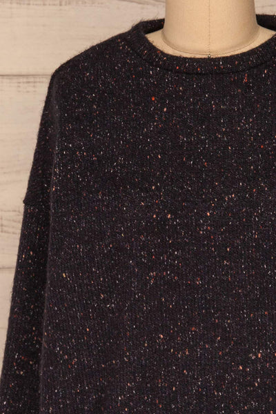 Rachelle Oversized Navy Knit Sweater | La petite garçonne front close-up