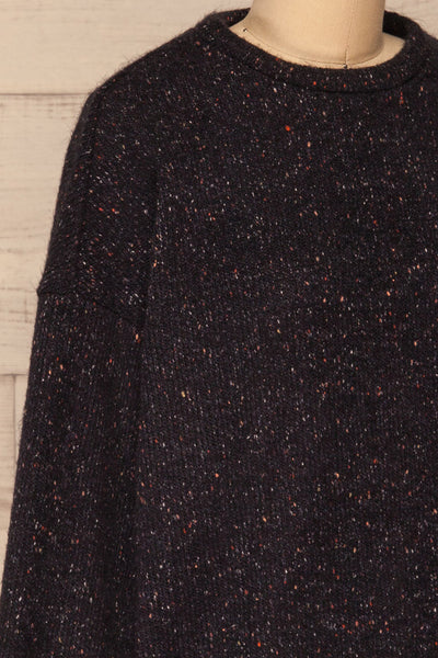 Rachelle Oversized Navy Knit Sweater | La petite garçonne side close-up