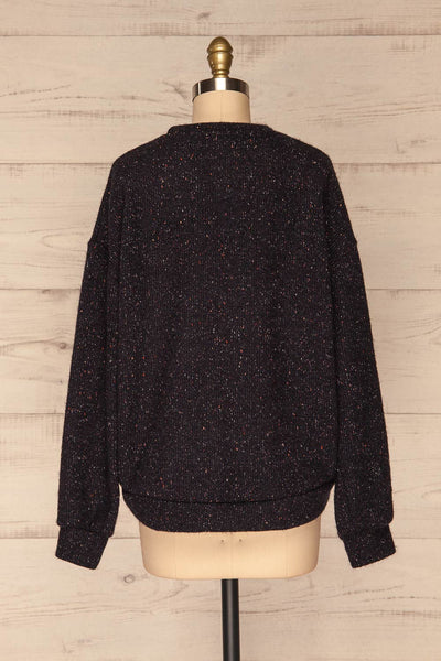 Rachelle Oversized Navy Knit Sweater | La petite garçonne back view