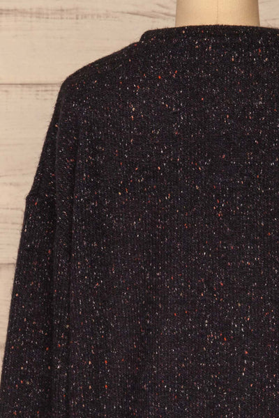 Rachelle Oversized Navy Knit Sweater | La petite garçonne back close-up