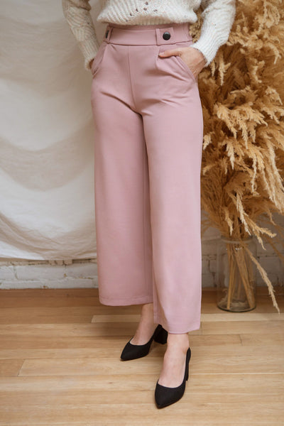 Radzymin Pink High-Waisted Wide Leg Pants | La petite garçonne model