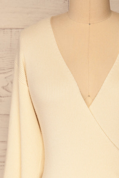 Recz Ivory Faux-Wrap Knit Top | La petite garçonne front close-up