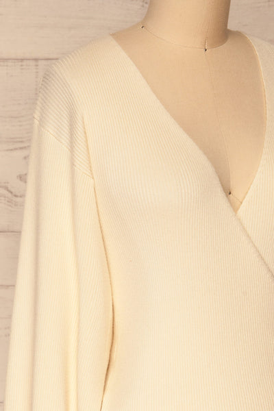 Recz Ivory Faux-Wrap Knit Top | La petite garçonne side close-up