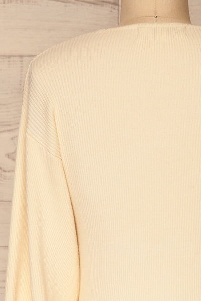 Recz Ivory Faux-Wrap Knit Top | La petite garçonne back close-up