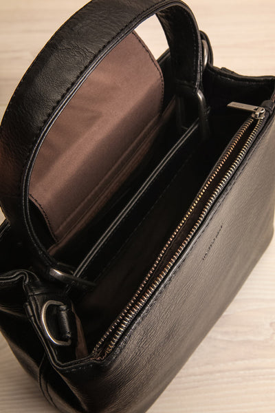 Rees Black Vegan Boxy Crossbody Satchel inside view | La Petite Garçonne
