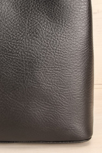 Rees Black Vegan Boxy Crossbody Satchel front close-up | La Petite Garçonne