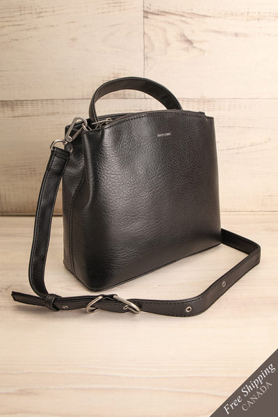 Rees Black Vegan Boxy Crossbody Satchel side view | La Petite Garçonne