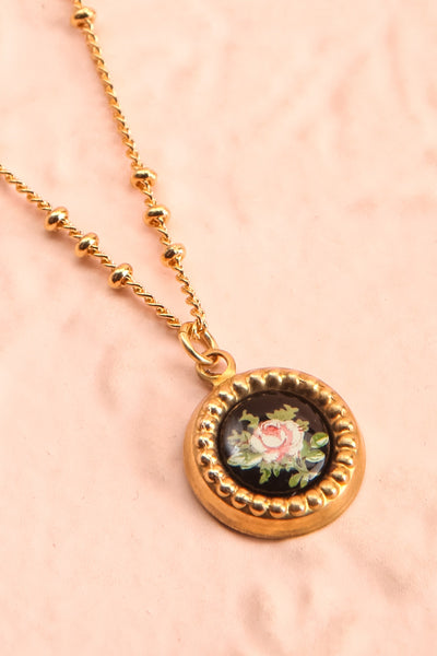 Renée Claire Golden Pendant Necklace | Fleur | Boutique 1861 flat close-up
