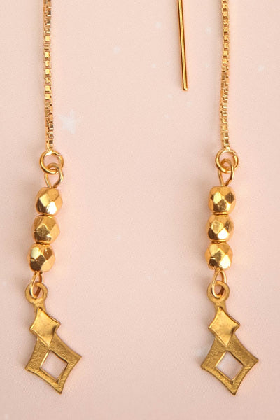 Doris Day Gold Chain & Charm Pendant Earrings | La Petite Garçonne 2