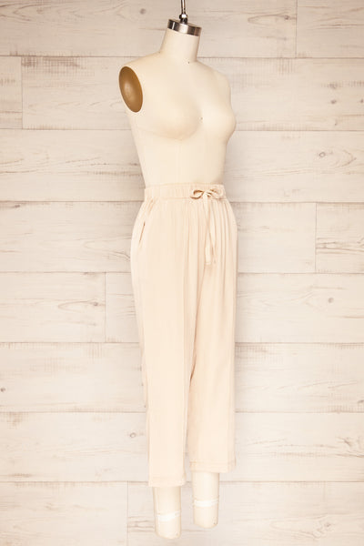 Resko Beige Drawstring Wide Leg Pants | La petite garçonne  side view