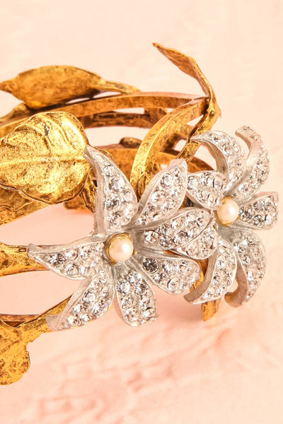 Rhododendron Antique Gold Bangle Bracelet with crystals | Boudoir 1861 3