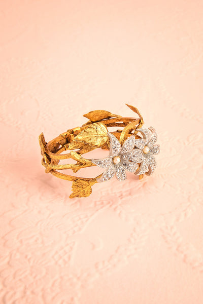 Rhododendron Antique Gold Bangle Bracelet with crystals | Boudoir 1861 4