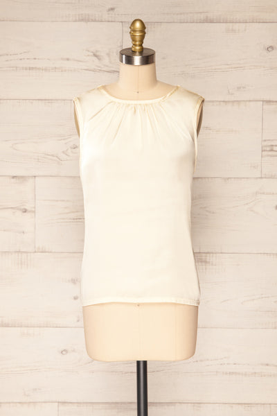 Riccia Cream Sleeveless Pleated Neck Blouse | La petite garçonne front view