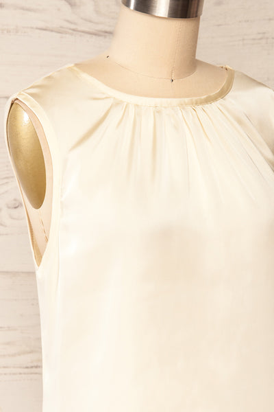 Riccia Cream Sleeveless Pleated Neck Blouse | La petite garçonne side close-up