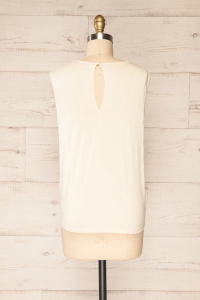 Riccia Cream Sleeveless Pleated Neck Blouse | La petite garçonne back view
