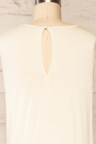 Riccia Cream Sleeveless Pleated Neck Blouse | La petite garçonne back close-up