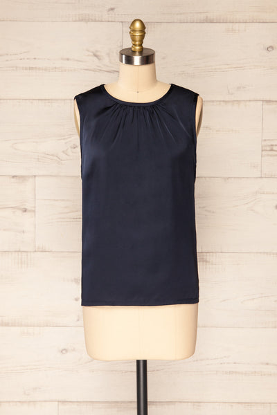 Riccia Navy Sleeveless Pleated Neck Blouse | La petite garçonne front view