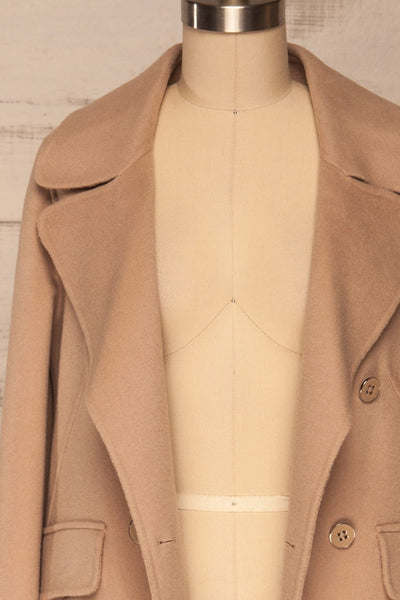Rivio Beige Felt Coat | Manteau Beige front close up open | La Petite Garçonne