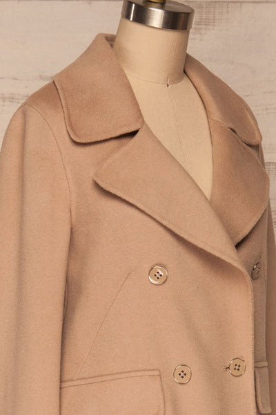 Rivio Beige Felt Coat | Manteau Beige side close up | La Petite Garçonne