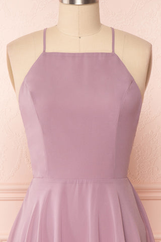 Roby Amethyst Lilac Chiffon A-Line Cocktail Dress | FRONT CLOSE UP | Boutique 1861