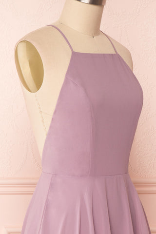Roby Amethyst Lilac Chiffon A-Line Cocktail Dress  | SIDE CLOSE UP | Boutique 1861