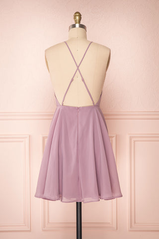 Roby Amethyst Lilac Chiffon A-Line Cocktail Dress  | BACK VIEW | Boutique 1861