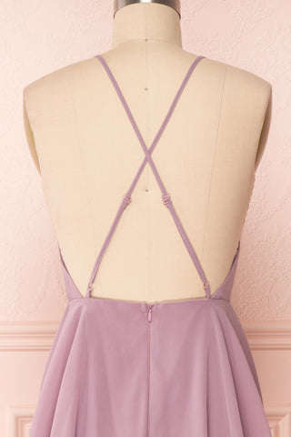 Roby Amethyst Lilac Chiffon A-Line Cocktail Dress  | BACK CLOSE UP | Boutique 1861