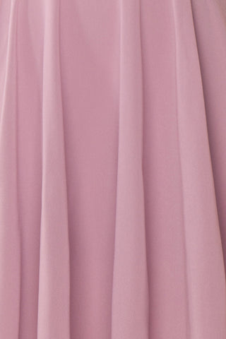 Roby Amethyst Lilac Chiffon A-Line Cocktail Dress  | FABRIC DETAIL | Boutique 1861